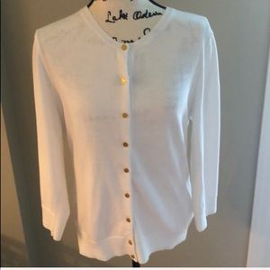 Lilly Pulitzer White Cardigan 100% Cotton Large